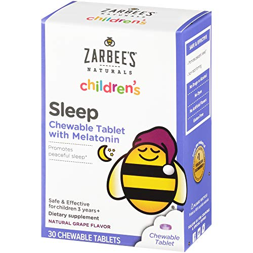 Zarbee's Naturals Children's Sleep with Melatonin Supplement, Natural Grape Flavor, 30 Chewable Tablets