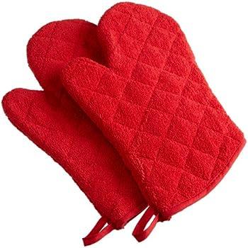 DII 100% Cotton, Terry Oven Mitt Set Machine Washable, Heat Resistant, 7 x 13, Red, 2 Piece