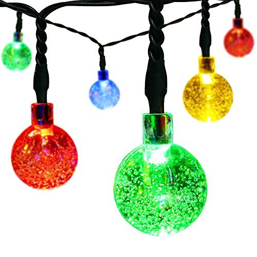 easyDecor Globe Solar String Lights 30 LED 21ft 8 Mode Bubble Crystal Ball Christmas Fairy String Lights for Outdoor Xmas Landscape Garden Patio Home Holiday Path Lawn Party Decoration (Multi color) from RZSAIDA