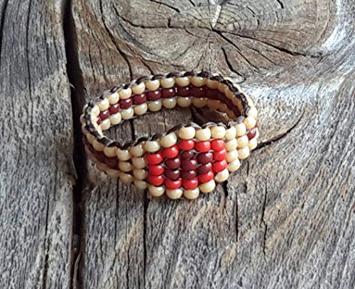 Men's Beaded Rings - Nickel-Free Desert Sand Brown Red Hippie Boho Native Mexican influenced Original Beaded Ring Handsewn Band Unisex Men Women