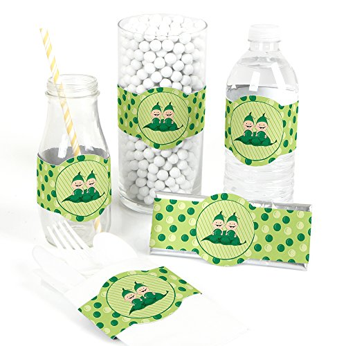Two Peas In A Pod Party Supplies (Big Dot of Happiness Twins Two Peas in a Pod - DIY Party Supplies - Baby Shower or Birthday Party DIY Wrapper Favors and Decorations - Set of)