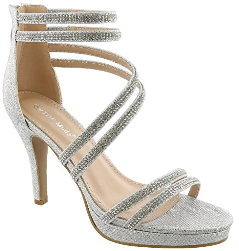 Top Moda Inna-1 Women's Ankle Strap High Heel Open Peep Toe Sandals (8.5, Silver)