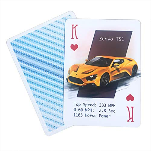 ARTISTICPX Plastic Playing Cards Featuring Cool Performance Cars - Waterproof - Unique Deck of Cards