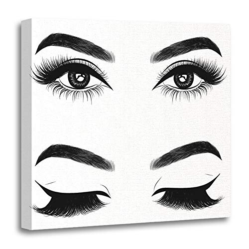Emvency Painting Canvas Print Wooden Frame Artwork Eyebrow Fresh Brown Woman's Eyes Idea for Extension Beautiful Liner Lady Arabic Decorative 20x20 Inches Wall Art for Home Decor ()