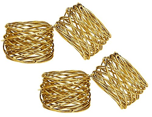 SKAVIJ Ideas Handmade Gold Napkin Rings Set of 4 Round Mesh for Weddings Dinner Parties or Every Day (Winter Table Decoration Ideas)
