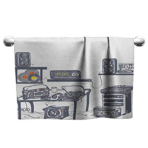 Bensonsve Square Towel Modern,Recording Studio with Music Devices Turntable Records Speakers Digital Illustration, Cadet Blue,Beach Towel for Toddler