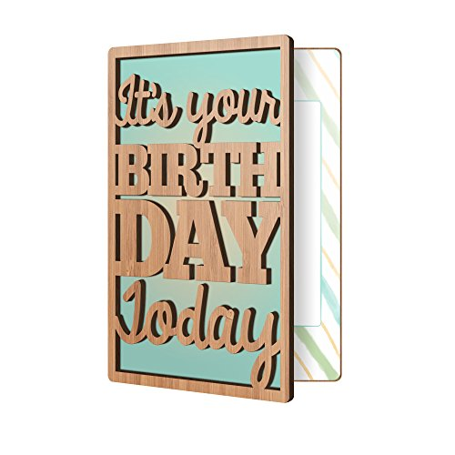 Happy Birthday Card: Real Sustainable Bamboo Wood Greeting Card, Premium Handmade Wooden Card, Birthday Gift Card For Him, Or Her -