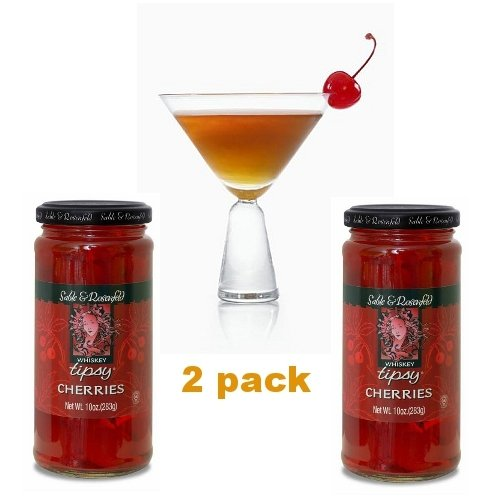 Sable & Rosenfeld Whiskey Tipsy Cherries, 10-Ounce Glass Jars (Pack of 2)