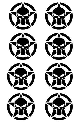UR Impressions Blk Army Star Punisher Skull 8-Pack Decal Vinyl Sticker Graphics for Cars Trucks SUV Vans Walls Windows Laptop|Black|2 X 2 Inch|URI474