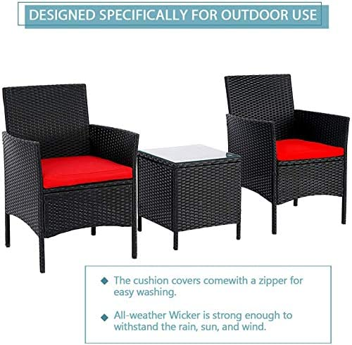 51NdMz5eXmL. AC SUNCROWN 3-Piece Patio Bistro Set, Outdoor Black Wicker Chairs, Patio Furniture Set with Glass Table, Red Cushion    From the brand