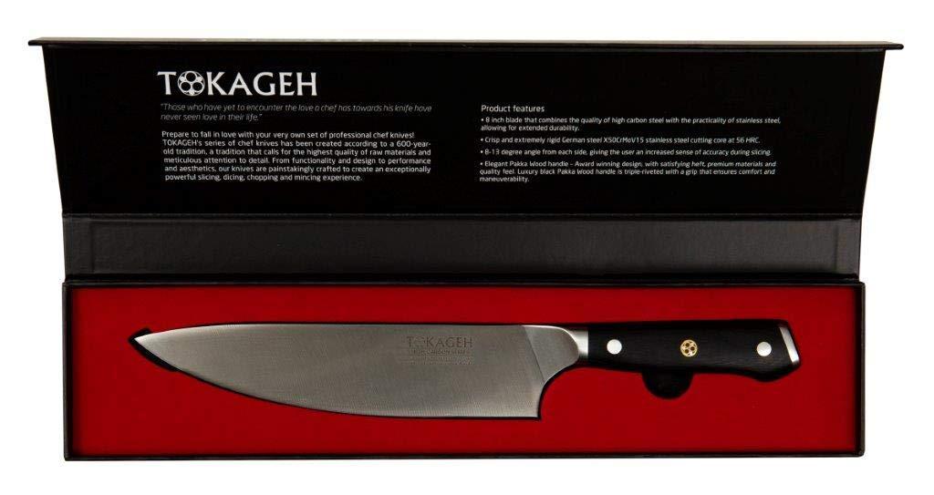 TOKAGEH Chef Knife 8 inch - German High Carbon Steel Pakka Wood Handle by TOKAGEH (Image #4)