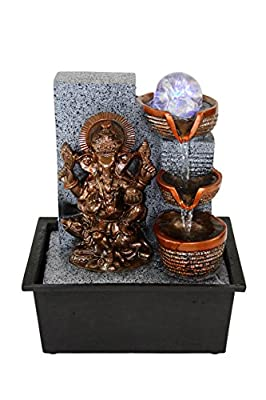 Ganesha Buddhism Indoor Tabletop Water Fountain LED Lights Rolling Crystal Ball