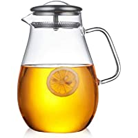 VV's AU 2000ML High Capacity Heatproof Glass Tea Pot with Stainless Steel Lid Filter Mesh for Hot or Iced Tea Coffee Water Pitcher Kettle