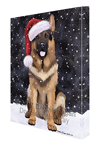 Let it Snow Christmas Holiday German Shepherds Dog Wearing Santa Hat Canvas Wall Art D232 (11x14) by Doggie of the Day