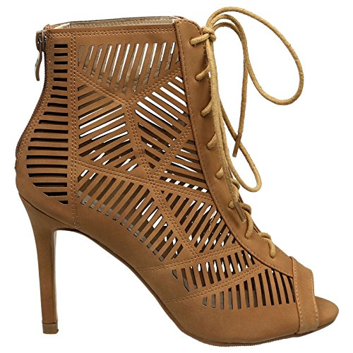 up Camel Stiletto Heep Fashion Ankle Boots Toe Womens Feet Anais High First Lace Peep Wy1qO6HcR