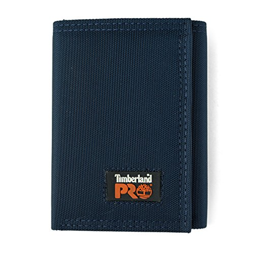 Timberland PRO Men's Cordura Nylon RFID Trifold Wallet with ID Window, navy, One Size