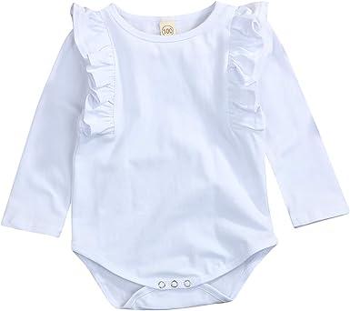GRNSHTS Infant Romper Baby Girl Twins Long Sleeve Ruffle Bodysuit Jumpsuits Top
