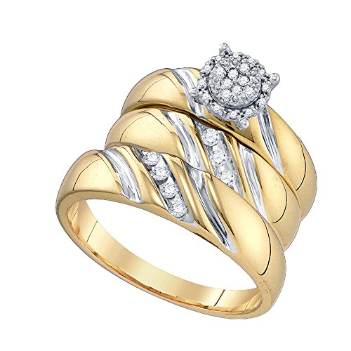 10k Yellow Gold Round Diamond Trio His & Hers Matching Trio Wedding Bridal Engagement Ring Band Set (1/5 Cttw)