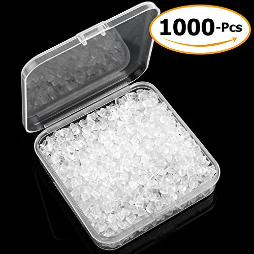 Clear Earring Backs Safety Rubber Bullet Earring Clutch Hypoallergenic by Yalis, 1000 Pieces