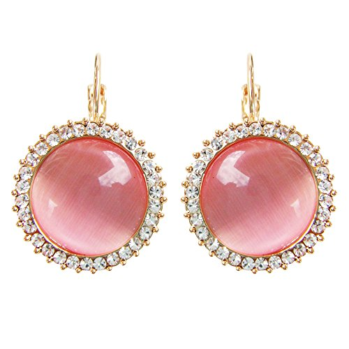 Navachi 18k Gold Plated Crystal Pink Created-opal Round Az1005h Leverback Hoop Earrings