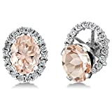 2.52 Ct Oval Peach Morganite 925 Sterling Silver Earrings