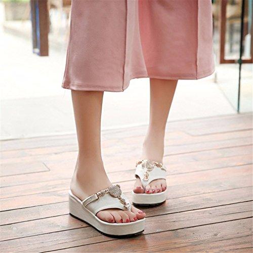Plate Wedges Pantoufles Chaussures Flops Forme Sandales Mode Femmes Femme Tongs White Cristal Flip Plage Sexy Dames Lumino Été wn8xXYUqwZ