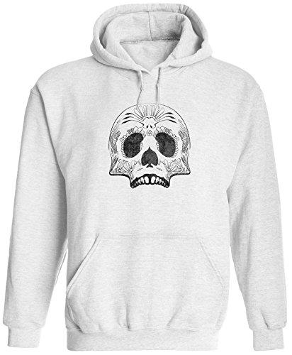 Unisex Mens Decorated Sugar Skull Pullover Hooded Sweatshirt (White, L) ()