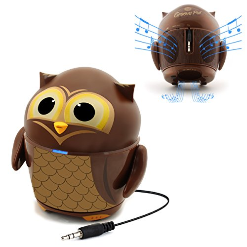 Cute Animal Rechargeable Portable Speaker with Passive Subwoofer (Groove Pal Owl) Speaker for Kids by GOgroove - Stereo Drivers, Retractable 3.5mm AUX Cable - Plug Into Tablets, Phones, & more by GOgroove