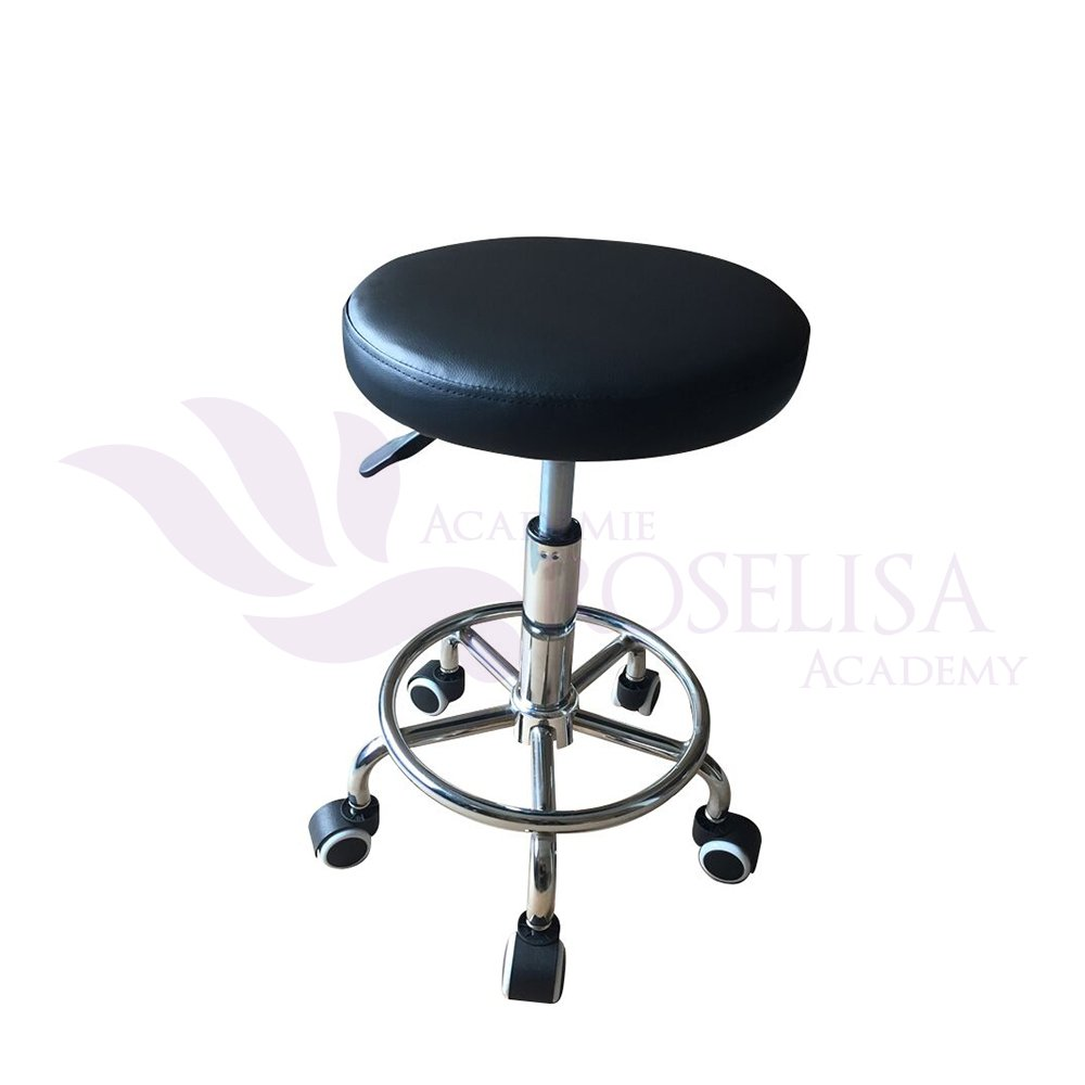 High Quality Flat Adjustable Hydraulic Practical Stool on Wheels with Round Chrome Footrest (Black) Roselisa Inc.