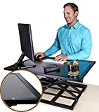 Standing Desk Converter – Eaglestand Sit Stand Height Adjustable Desk, Extra Large 32in x 22in Computer Stand Up Desk with Classy Metal Edging for Small Spaces and Corners in Home and Office (Black)