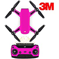 SopiGuard 3M Neon Pink Precision Edge-to-Edge Coverage Vinyl Sticker Skin Controller 3 x Battery Wraps for DJI Spark