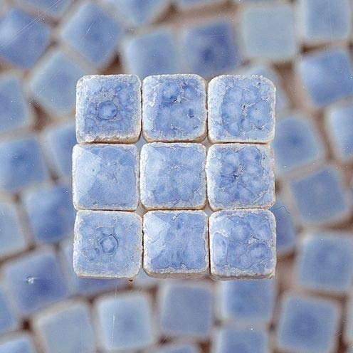 Mosaix 2295647 10 x 10 x 3 mm 70 g 150-Piece Ceramic Glazed Mosaic Tiles, Light Blue (Light 3 Tile Pendant)