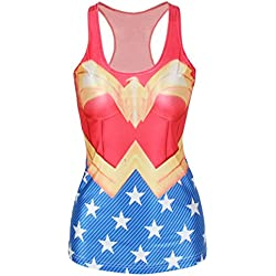 Amoluv Hot Fashion Women Wonder Woman Cape Printed Sleeveless T Shirt Vest Tank Tops