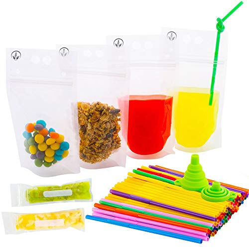 The New Clear Drink Pouches with Double Zipper for Smoothie Bags - Straws and Popsicle Bags and Silicone Funnel +Ebook -176-Pcs| Food and Juice Reusable Container | Disposable and Non-Toxic, BPA Free