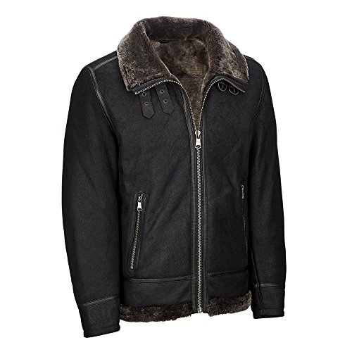 Wilsons Leather Mens Genuine Leather Jacket W/Shearling Lining XL Black by Wilsons Leather