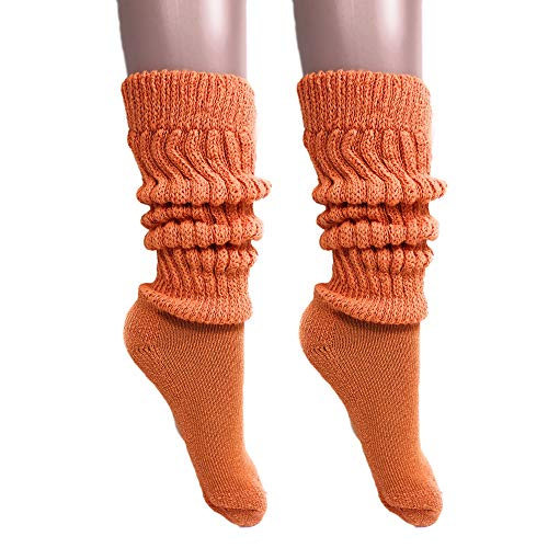 Slouch Socks Women and Men Extra Tall Heavy Cotton Socks Made in USA Size 9 to 11 (Orange, 2)]()