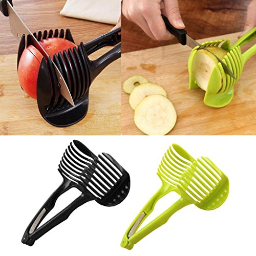 Large Top Drilled Chip (Malltop Kitchen Convenient Tools Handheld Circular Lemon Tomato Slices Fruit Slicer (Green/Black in Random))