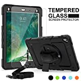 iPad 6th/5th Generation Case, New iPad 2018/2017 Case, SMAPP [Tempered Glass Screen Protector] [Full-Body] [Shock Proof] Kids Proof Hybrid Armor Protective Case for iPad 2018/2017/Air 2/Pro 9.7(Black)