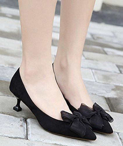 IDIFU Womens Classic Pointed Toe Mid Kitten Heels Slip On Pumps With Bows Black 4zRUnCUB