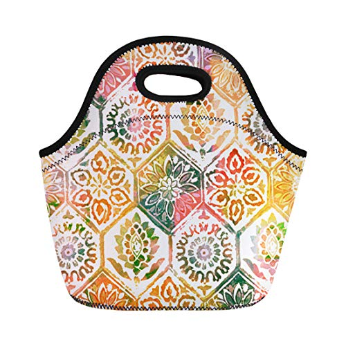 Semtomn Neoprene Lunch Tote Bag Dye Floral Tiles Watercolor Pattern Geometric Tribal Abstract Batik Reusable Cooler Bags Insulated Thermal Picnic Handbag for Travel,School,Outdoors,Work