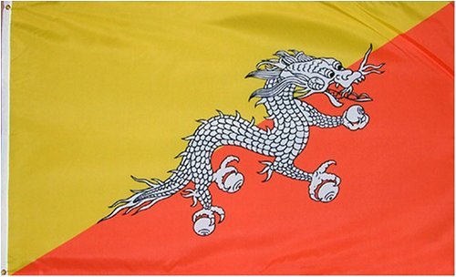 Bhutan National Country Flag - 3 foot by 5 foot Polyester (New)