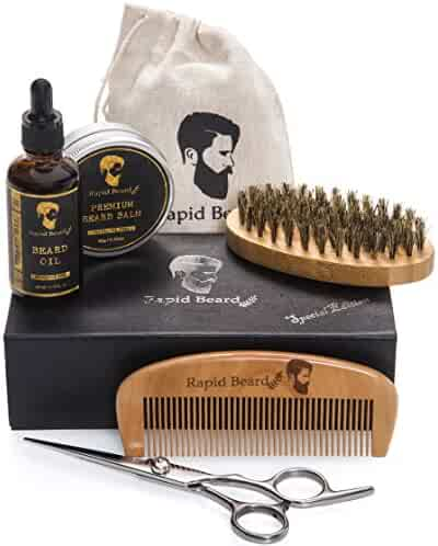 Beard Oil balm brush And Comb Kit For Men-beard Care Gift Set With Organic Ingredients Mustache Moisturizing Wax Set 5 Pcs