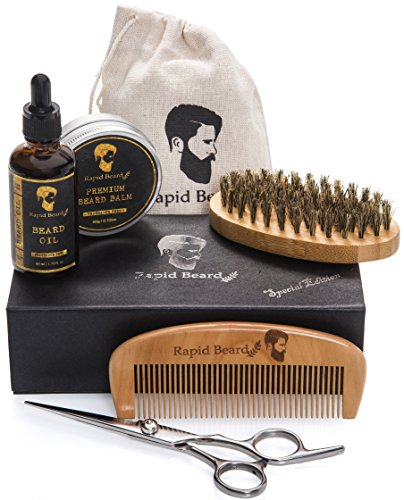 Beard Grooming & Trimming Kit for Men Care - Beard Brush, Beard Comb, Unscented Beard Oil Leave-in Conditioner, Mustache & Beard Balm Butter Wax, Barber Scissors for Styling, Shaping & Growth Gift set by Rapid Beard