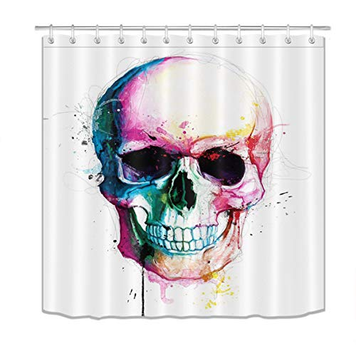 LB Colorful Halloween Skull Shower Curtains Skeleton Scary Eyes Fabric Bathroom Curtains 72x72 inch Polyester Fabric Waterproof with Hooks -