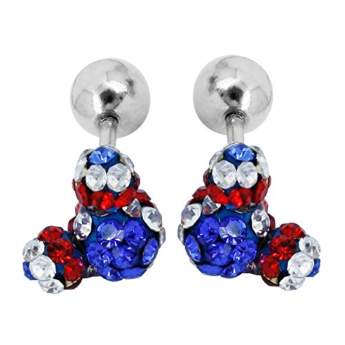 Bonnie Lovely Cute Crystal Mouse Rhinestone Girl's Screwback Stud Earrings Crystal Mickey Mouse Rhinestone