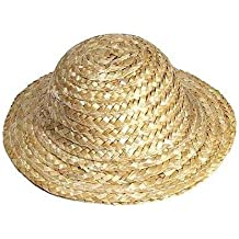 "Package of Miniature 12 Straw Doll Hats 4"" Overall Diameter and 2"" Opening Diameter"