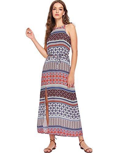 c8de4e3938a Floerns Women s Boho Floral Geometric Print Sleeveless Halter Split Maxi  Dress ...