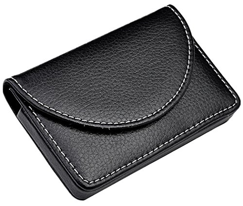 Ayliss Business Card Holder Top Stainless Steel Leather Magnetic Shut Card Case Black
