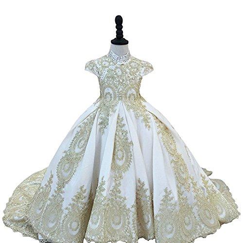 Sanling Cap Sleeve Beaded Appliques Satin Ball Gown Flower Girl Dresses Communion Dress Robe Fille Enfant Mariage de Soiree (Ivory)