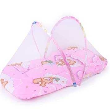Baby Travel Bed,Baby Bed Portable Foldable Baby Crib Baby Tent with Mosquito Net Pink